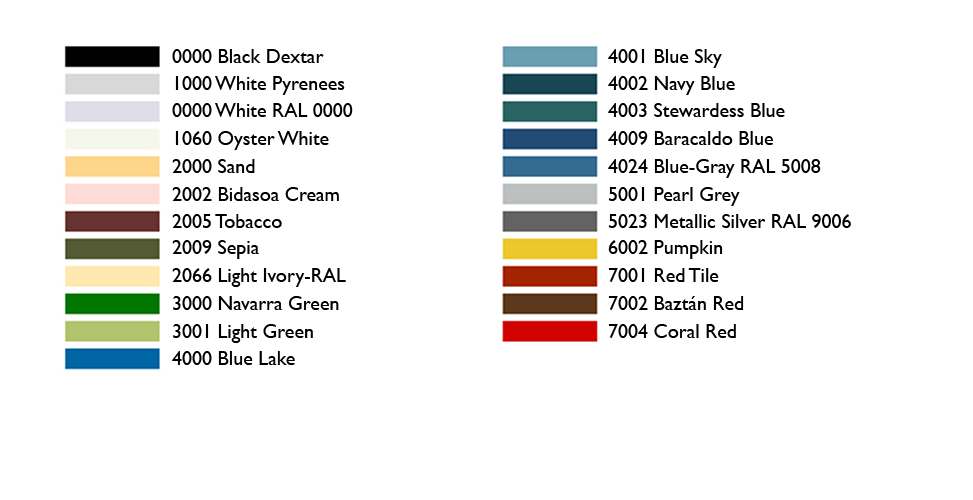 ACH Panels Standard Colour List